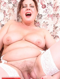 Old Mature Bitch Shows You Her Hairy Camel Toe Pussy