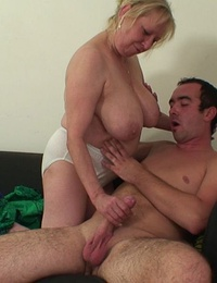 She might be a grandma but she still has great lust for hardcore fucking with younger men
