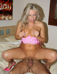 Beautiful blonde oldie gagging on a fat young dong